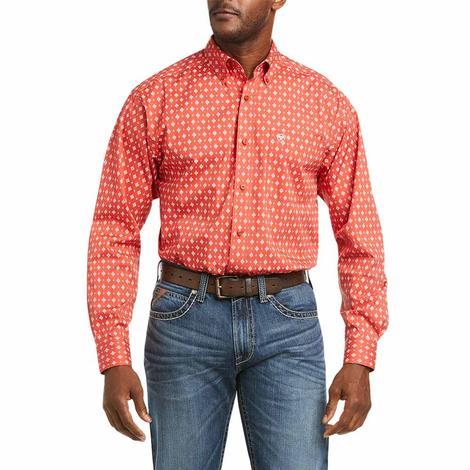 Ariat Freman Orange Red Print Long Sleeve Buttondown Men's Shirt