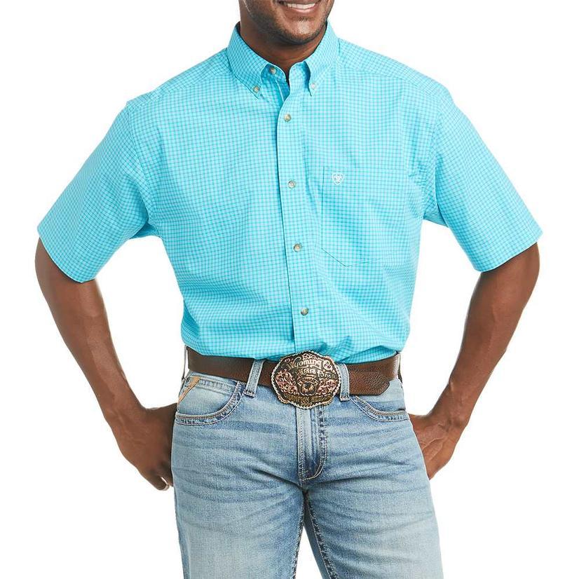 Ariat Flynn Stretch Turquoise Plaid Short Sleeve Buttondown Men's Shirt