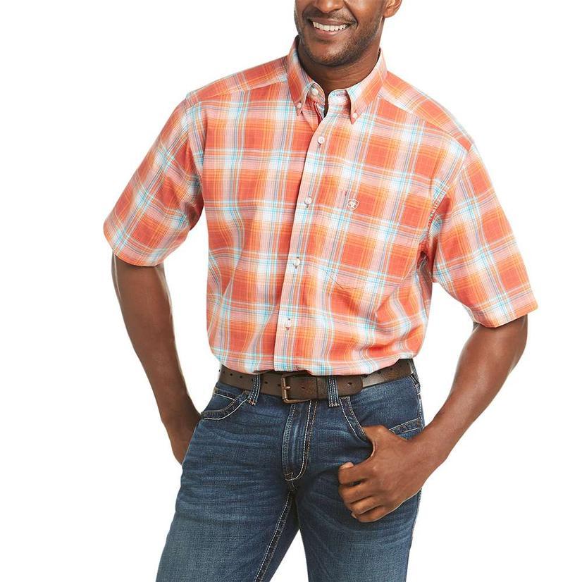 Ariat Faris Orange Multi Plaid Short Sleeve Buttondown Men's Shirt