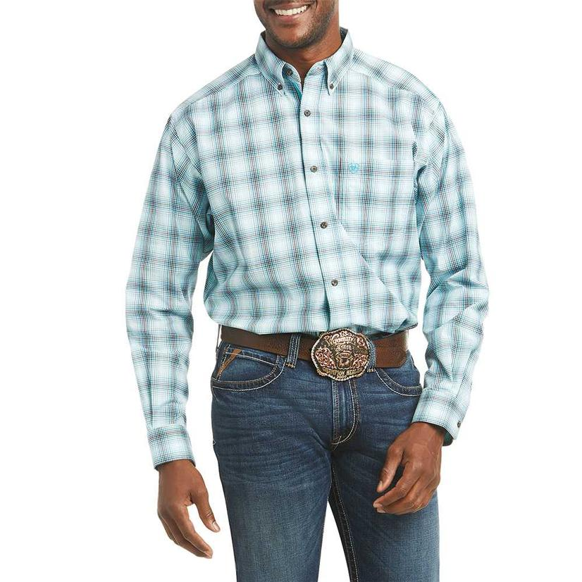 Ariat Fulton Aqua Plaid Long Sleeve Buttondown Men's Shirt