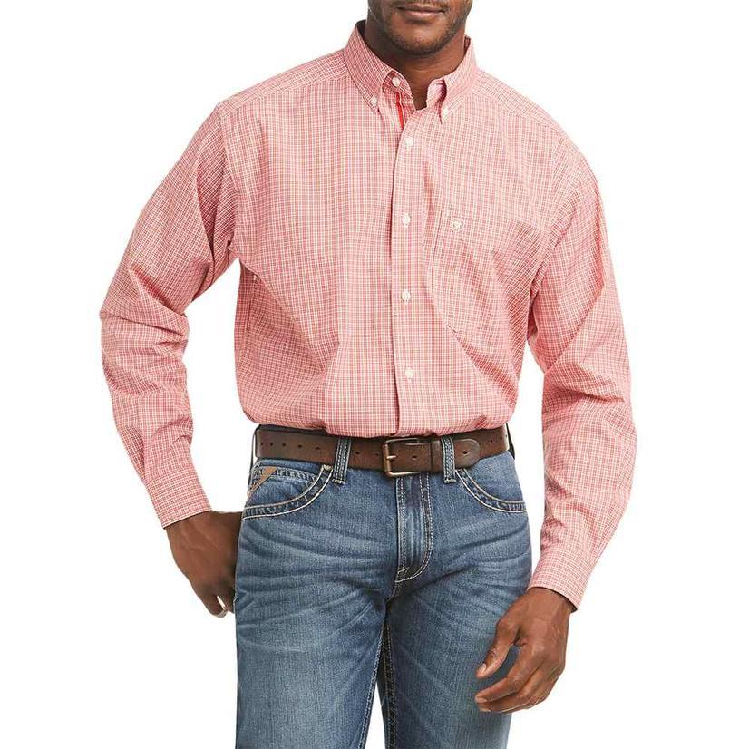 Ariat Feles Orange Plaid Long Sleeve Buttondown Men's Shirt