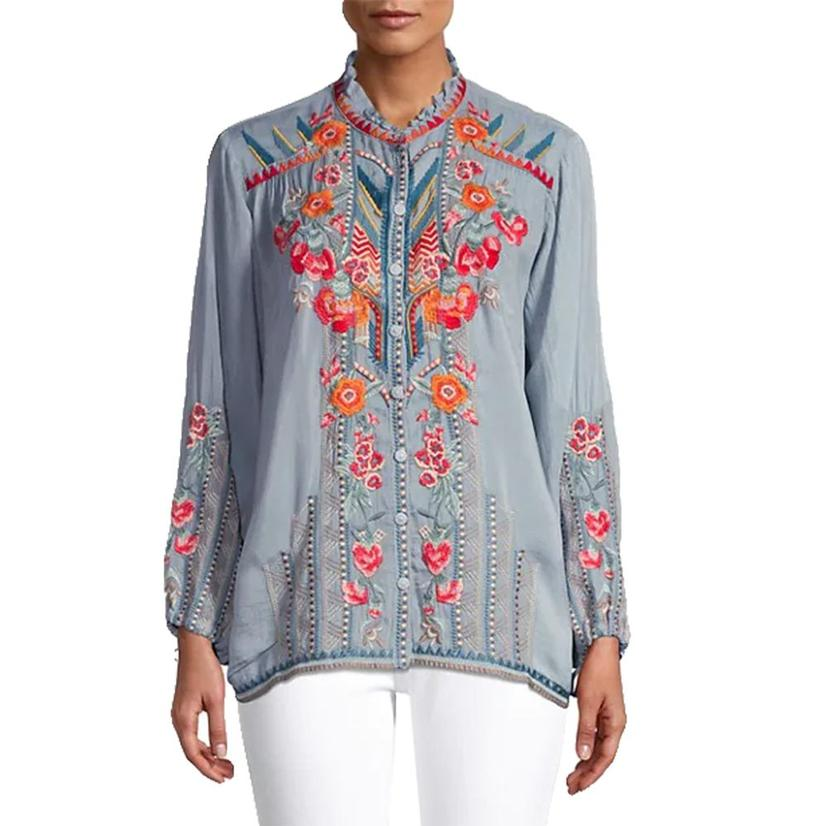 Johnny Was Jude Fog Embroidered Women's Blouse