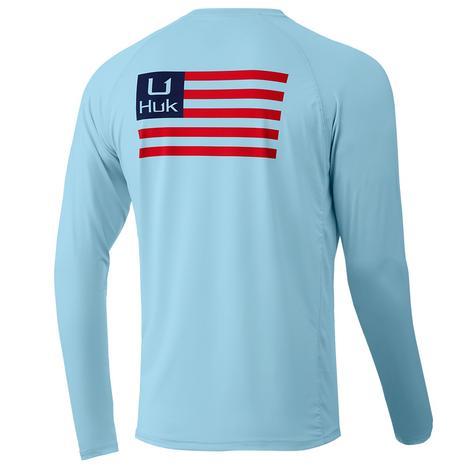 HUK Huk'd Up Pursuit Flag Ice Blue Long Sleeve Men's Shirt