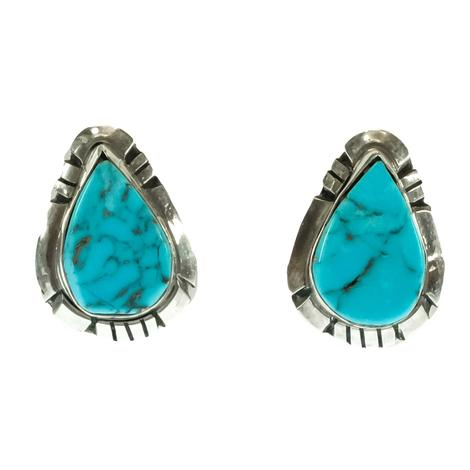 Silver and Turquoise Teardrop Stud Earrings