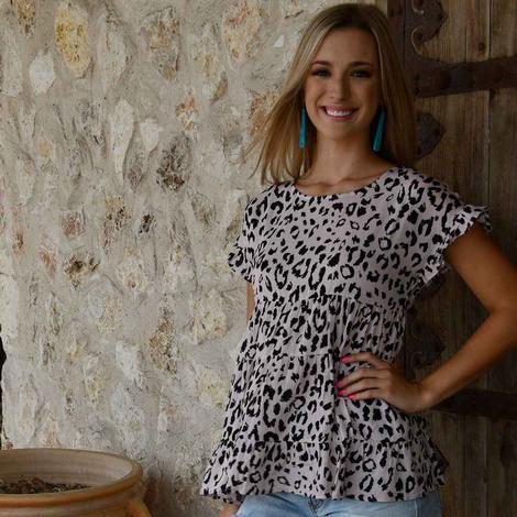 Ladies Andree Pink Leopard Babydoll Top