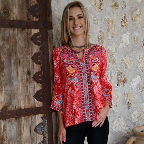 Savanna Jane Red Print Embroidered Plus Size Top