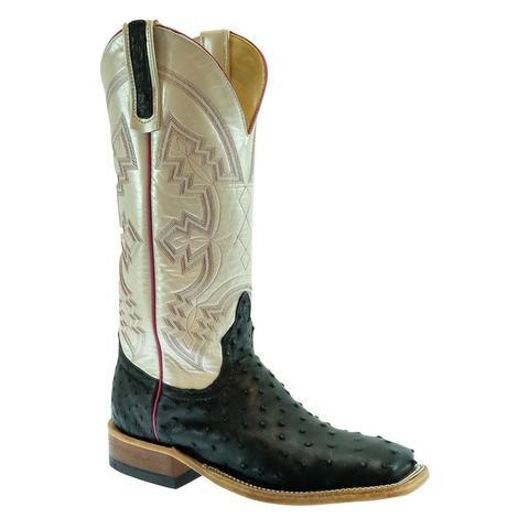 STT Black Full Quill Ostrich White Top Women's Boots