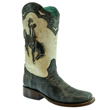 Corral Distressed Black and White Embroidered Bronc Rider Women's Boots