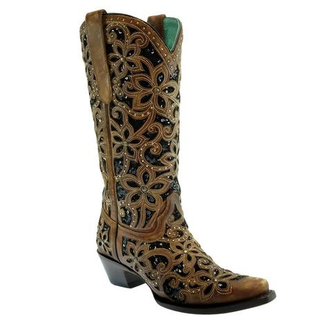Corral Black Inlay Embroidered Studded Women's Boots