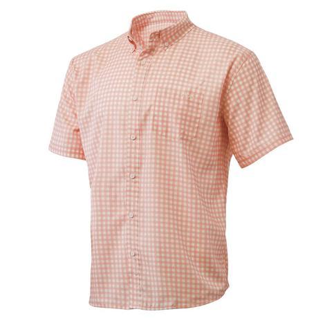 HUK Teaser Coral Fusion Gingham Short Sleeve Men's Shirt
