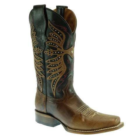 Circle G Black and Brown Embroidered Studded Women's Boots