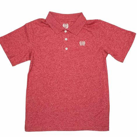 Cinch Heather Red Short Sleeve Boy's Polo Shirt