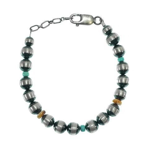 Navajo Pearl Spiny Oyster and Turquoise Bracelet