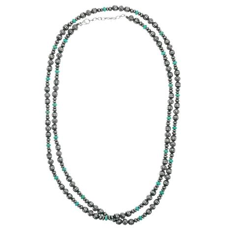 Navajo Pearl and Turquoise 48inch Necklace