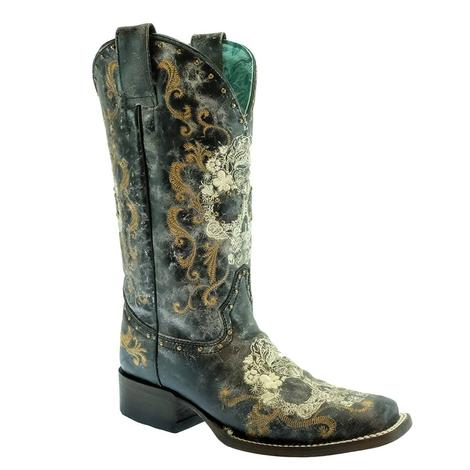 Corral Black White Floral Embroidered Skull with Studs Women's Boots