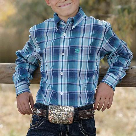 Cinch Navy Plaid Long Sleeve Buttondown Boy's Shirt