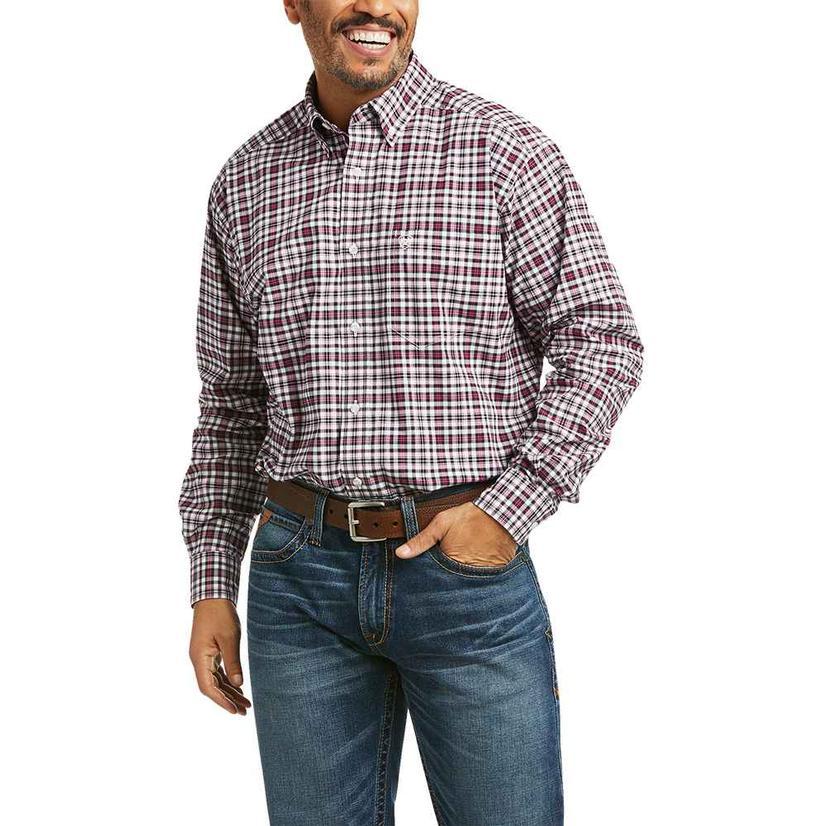 Ariat Kolt Stretch Dark Red Black Plaid Long Sleeve Buttondown Men's Shirt