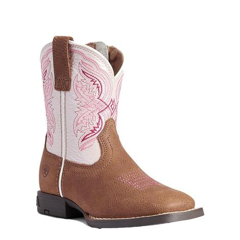 Ariat Double Kicker Easy Fit Pink Girl's Little Kid Boots