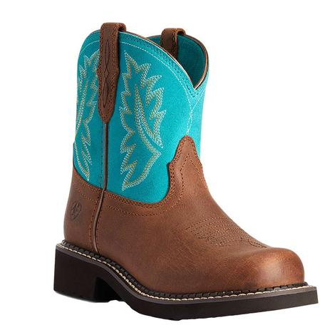 Ariat Fat Baby Heritage Turquoise Girl's Kid and Youth Boots