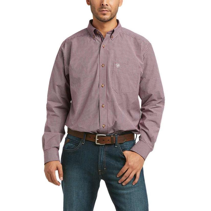 Ariat Kent Dark Red Plaid Long Sleeve Buttondown Men's Shirt