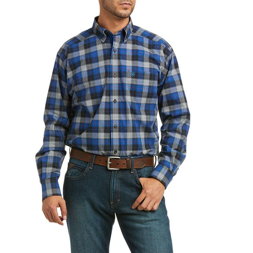 Ariat Kylar Stretch Black Blue Plaid Long Sleeve Buttondown Men's Shirt