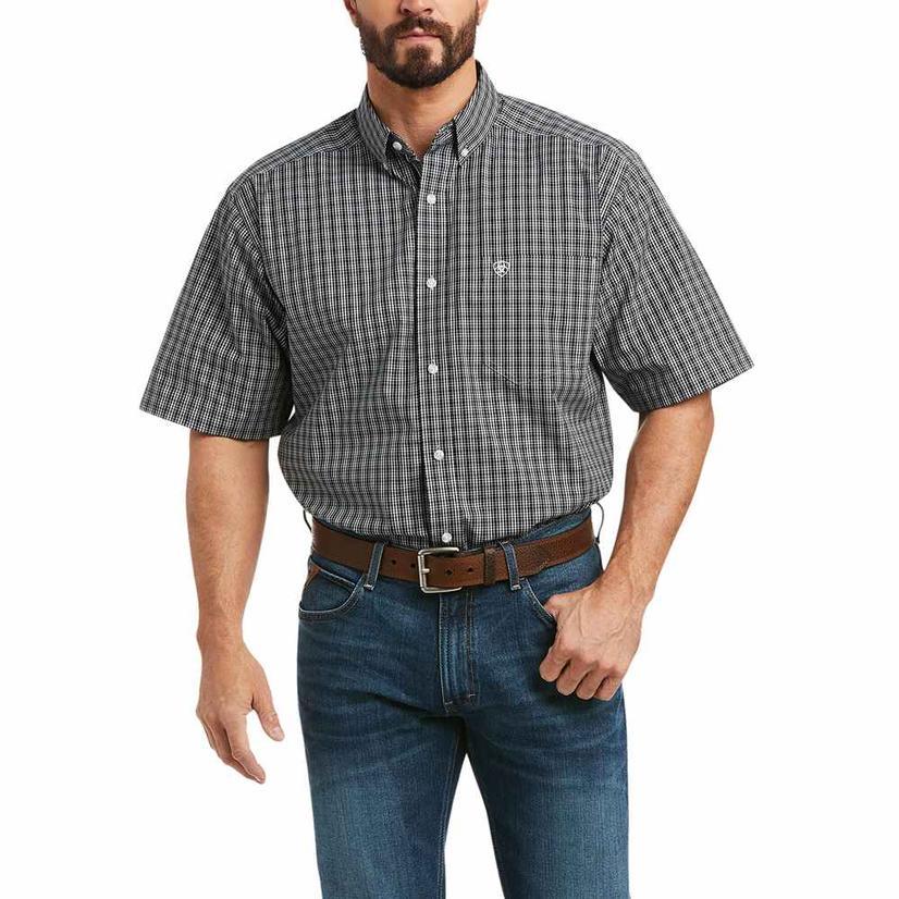 Ariat Kilian Black Plaid Short Sleeve Buttondown Men's Shirt