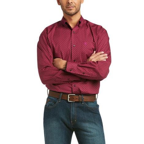 Ariat Koby Stretch Dark Red Print Long Sleeve Buttondown Men's Shirt
