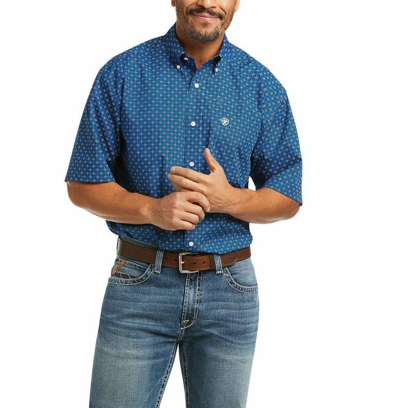 Ariat Kirk Blue Print Short Sleeve Buttondown Men's Shirt