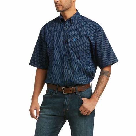 Ariat Kelton Black Blue Print Short Sleeve Buttondown Men's Shirt
