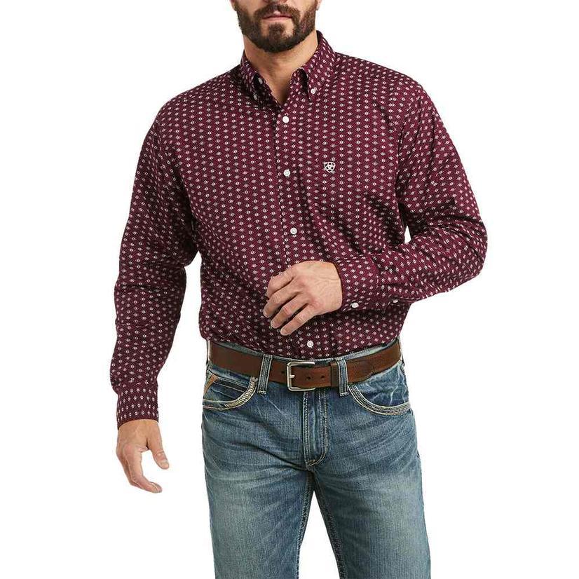Ariat Kavi Stretch Dark Red Print Fitted Long Sleeve Buttondown Men's Shirt