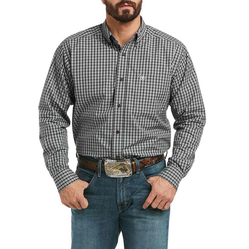 Ariat Kaden Grey Black Plaid Fitted Long Sleeve Buttondown Men's Shirt