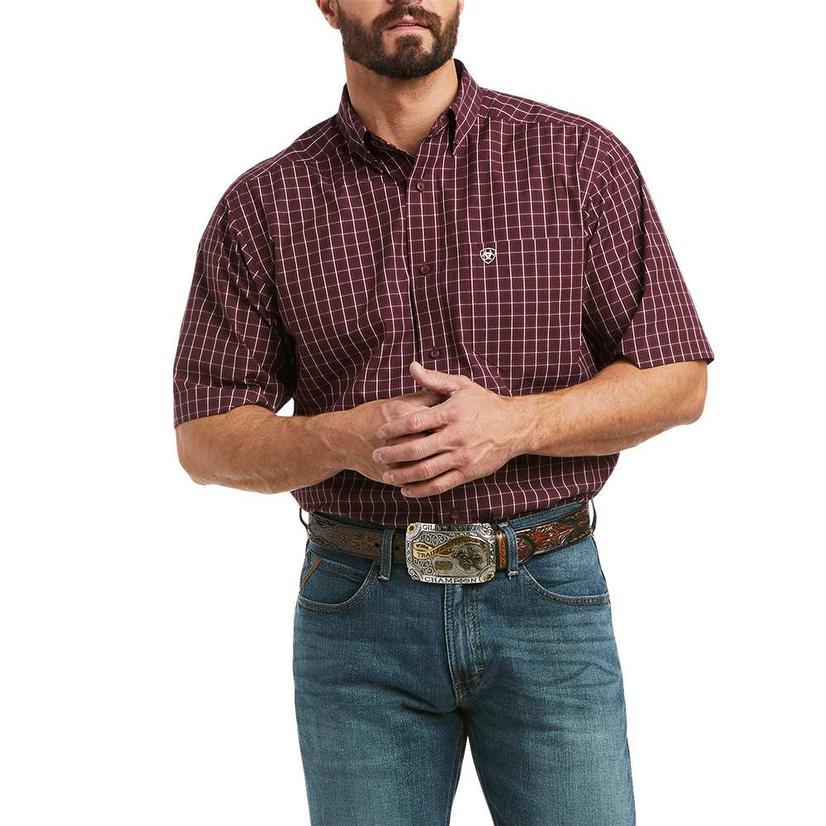 Ariat Kegan Dark Red Plaid Fitted Short Sleeve Buttondown Men's Shirt