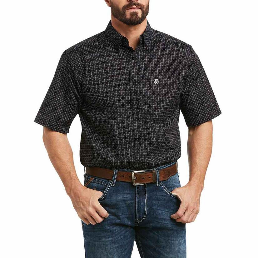 Ariat Kevin Black Print Fitted Short Sleeve Buttondown Men's Shirt