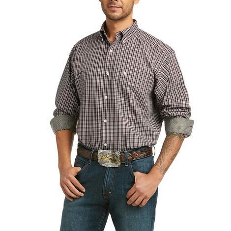 Ariat Osmar Burgundy Plaid Wrinkle Free Long Sleeve Buttondown Men's Shirt