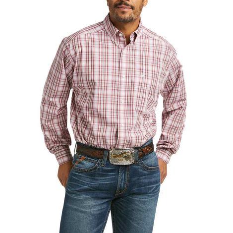 Ariat Olindo Brown Pink Plaid Long Sleeve Buttondown Men's Shirt