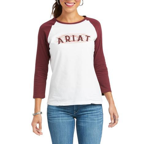 Ariat REAL Maroon and White Women's Baseball Tee