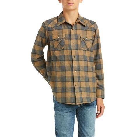 Ariat Hartford Brown Plaid Retro Long Sleeve Snap Boy's Shirt