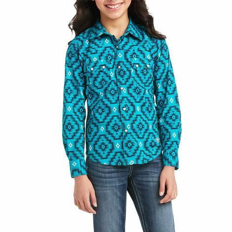 Ariat REAL Girl's Mesa Teal Print Long Sleeve Buttondown Girl's Shirt