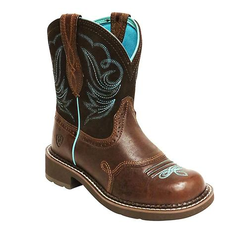 Ariat Womens Fatbaby Heritage Dapper Brown Turquoise Boots