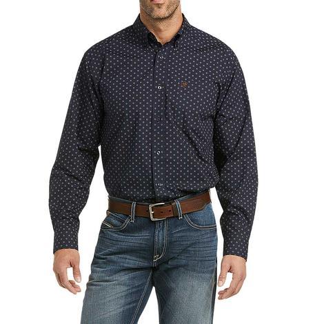 Ariat Mayfield Navy Print Long Sleeve Buttondown Men's Shirt