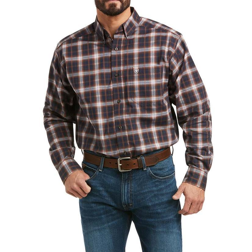 Ariat Mavrick Navy Brown Plaid Long Sleeve Buttondown Men's Shirt