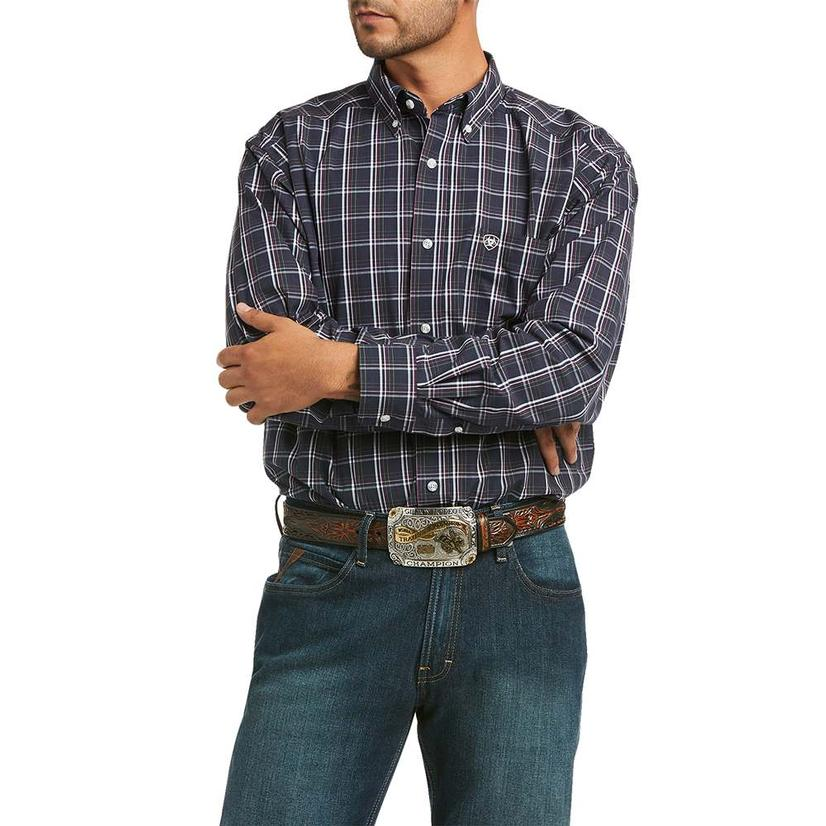 Ariat Mylo Navy Plaid Long Sleeve Buttondown Men's Shirt