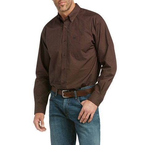 Ariat Merce Brown Print Long Sleeve Buttondown Men's Shirt