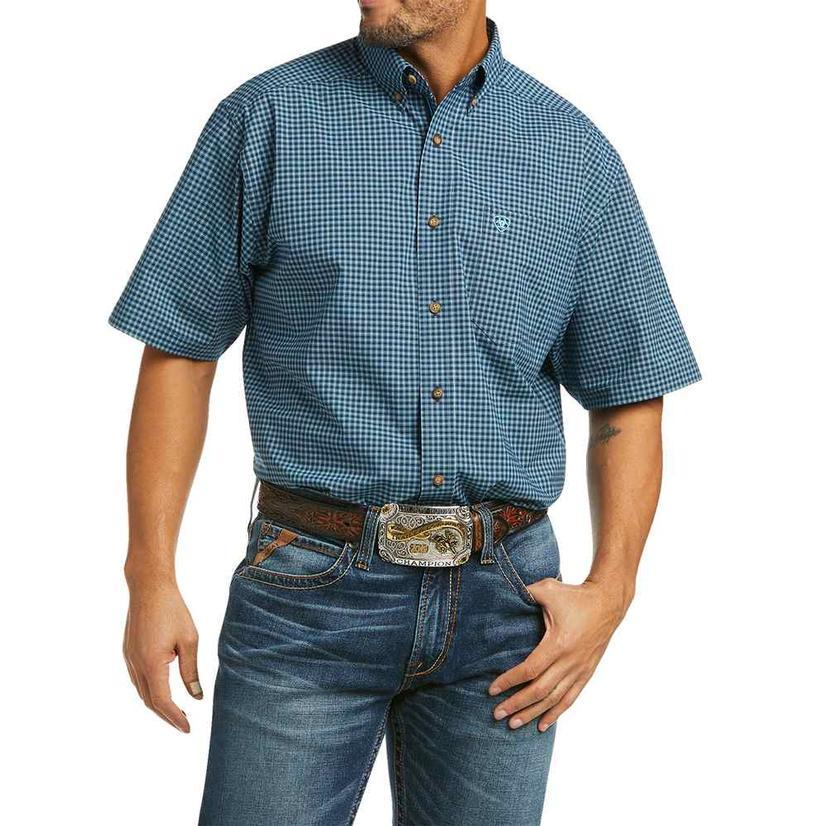 Ariat Pawel Stretch Navy Blue Plaid Short Sleeve Buttondown Men's Shirt