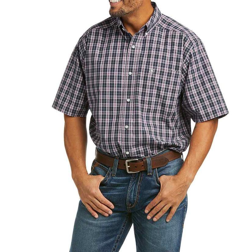 Ariat Maxsen Navy Plaid Short Sleeve Buttondown Men's Shirt