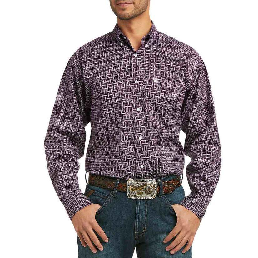 Ariat Madgar Stretch Pink Print Long Sleeve Buttondown Men's Shirt
