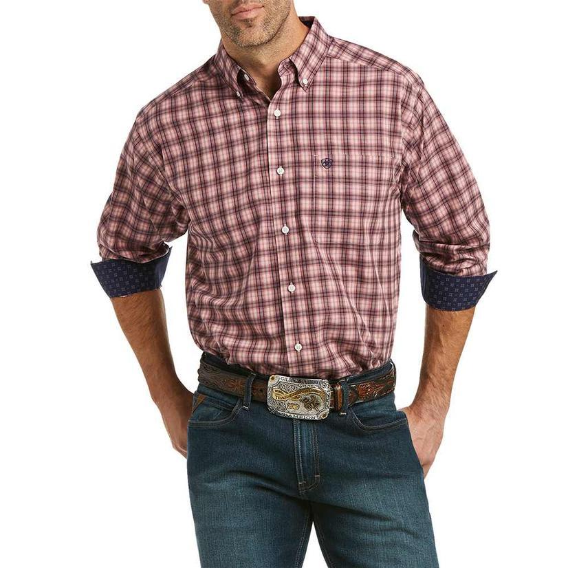Ariat Lincoln Wrinkle Free Navy Tan Plaid Long Sleeve Buttondown Men's Shirt