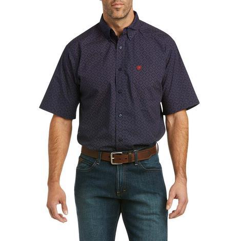 Ariat Pazel Navy Print Short Sleeve Buttondown Men's Shirt