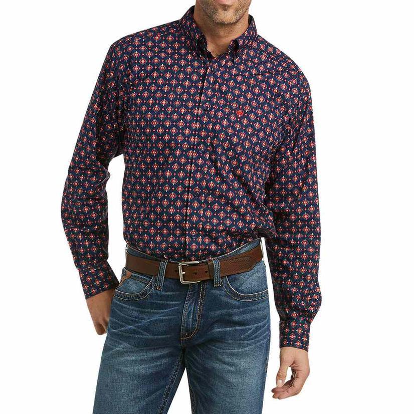 Ariat Piero Navy Orange Print Long Sleeve Buttondown Men's Shirt