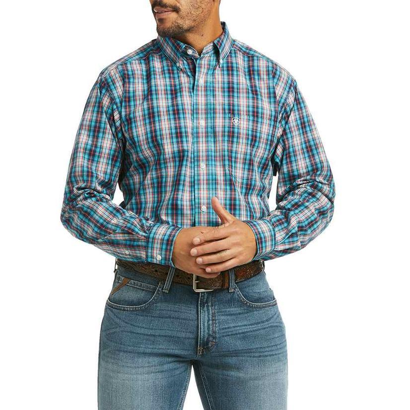 Ariat Pelagios Blue Orange Plaid Fitted Long Sleeve Buttondown Men's Shirt